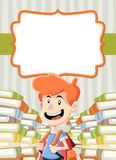 Card with cartoon boy reading books. Student Royalty Free Stock Photo