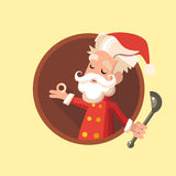 Card with cartoon Elf for Christmas and New Year party Stock Images