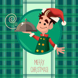 Card with cartoon Elf for Christmas and New Year party Royalty Free Stock Photos