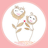 Card with cartoon flowers in love Stock Images