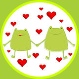 Card with cartoon frogs in love Stock Photos
