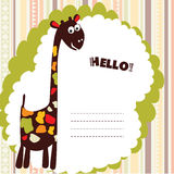 Card with cartoon giraffe Stock Image