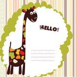 Card with cartoon giraffe Stock Image