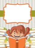 Card with cartoon girl reading books Royalty Free Stock Photo