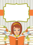 Card with cartoon girl reading books. Stock Photos