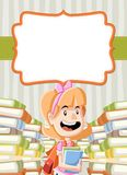 Card with cartoon girl reading books. Stock Image