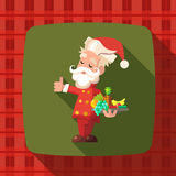 Card with cartoon Santa Claus for Christmas and New Year party Royalty Free Stock Photos