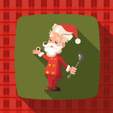 Card with cartoon Santa Claus for Christmas and New Year party Royalty Free Stock Images