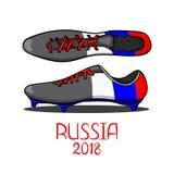 Card with cartoon vector football boot. Royalty Free Stock Photo