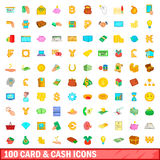 100 card and cash icons set, cartoon style Royalty Free Stock Photo