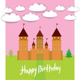 Card With Castle princess fairytale landscape. Happy birthday card. vector Stock Images