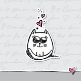 Card with cat. Hand drawn card with cat and hearts Stock Images