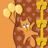 Card with cat and balloons Royalty Free Stock Photo