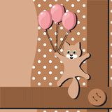 Card with cat and balloons Royalty Free Stock Images