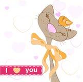 Card Cat bird love. Cat bird love. Vector Illustration Royalty Free Stock Images