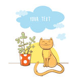 Card with cat. Morning greeting card with cute cartoon  cat and  houseplant. Dawn and morning clouds. Children's illustration. Vector image Royalty Free Stock Photo