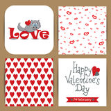 Card with cat for Valentine's Day Stock Photos