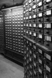 Card catalog. Black and white of library card catalogs stock photography