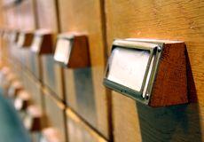 Card catalogue drawers Royalty Free Stock Photography