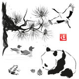 Card with cedar in the bird and panda bear. Hand-drawn with ink. Traditional Japanese painting. Vector illustration. Hieroglyph way royalty free illustration