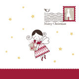 card celebrating christmas imaginations new winter years Άγγελος και χρυσά αστέρια στο άσπρο υπόβαθρο ουρανός santa του Klaus παγ Στοκ Εικόνα