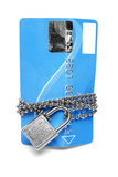 Card, chain and padlock Stock Images