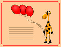 Card with Cheerful giraffe. vector Royalty Free Stock Images