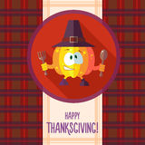 Card with chef cartoon pumpkin for an invitation to Thanksgiving Royalty Free Stock Image