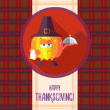 Card with chef cartoon pumpkin for menu or an invitation to Than Royalty Free Stock Photo