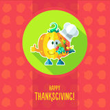 Card with chef cartoon pumpkin for menu or an invitation to Than Royalty Free Stock Photos