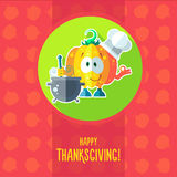 Card with chef cartoon pumpkin for menu or an invitation to Than Stock Image