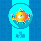 Card with chef cartoon pumpkin for menu or an invitation to Than Royalty Free Stock Images