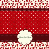 Card with cherries and nice pattern Royalty Free Stock Images