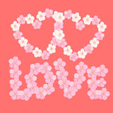 Card with cherry blossom Japanese in the the form of heart. vect Stock Photo