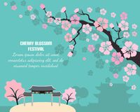 Card with cherry blossom and text. stock illustration