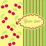 Card with cherry Royalty Free Stock Images