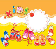 Card - children gumshoes, lace frame and word KIDS Royalty Free Stock Image
