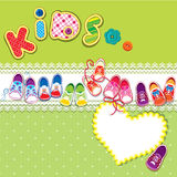 Card - children gumshoes, lace heart and word KIDS Stock Photos
