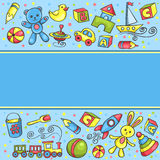 Card with children toys blue Royalty Free Stock Photos