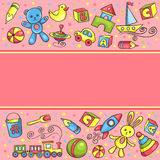 Card with children toys pink Stock Image