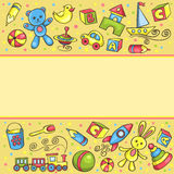 Card with children toys Stock Photos