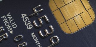 Card chip. Macro image of credit card electronic chip insert stock image