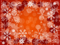 Card christmas. Red card christmas with circles and snowflakes Stock Photography