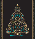 Card christmas. Golden christmas tree on black background Stock Images