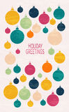 Card with Christmas ball. Christmas and New Year greeting card with Christmas ball. Multicolored design for greeting cards, fabric, wrapping paper, invitation Royalty Free Stock Image
