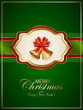 Card with Christmas bells and bow on green background. Card with golden Christmas bells and red bow on green background with snowflakes, holiday decoration with Royalty Free Stock Images