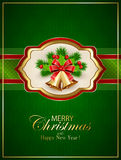 Card with Christmas bells and holly berries on green background Stock Photo