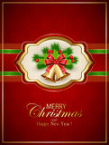 Card with Christmas bells and holly berries on red background Stock Images