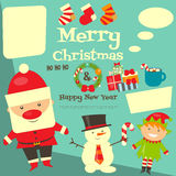 Card with Christmas characters Royalty Free Stock Photo