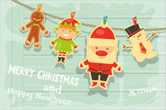 Card with Christmas characters Stock Images